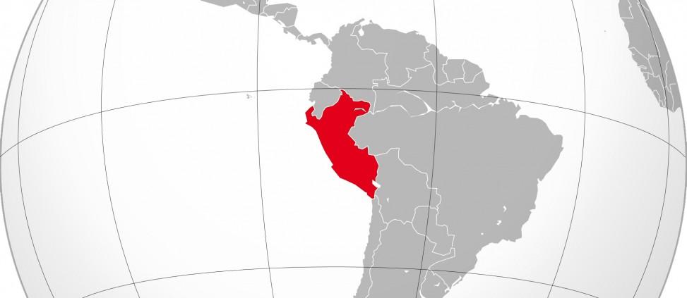 Sphere du monde avec le Pérou