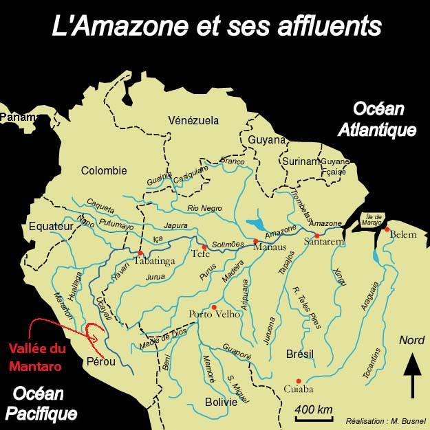 Carte du bassin de l'Amazone et de ses affluents