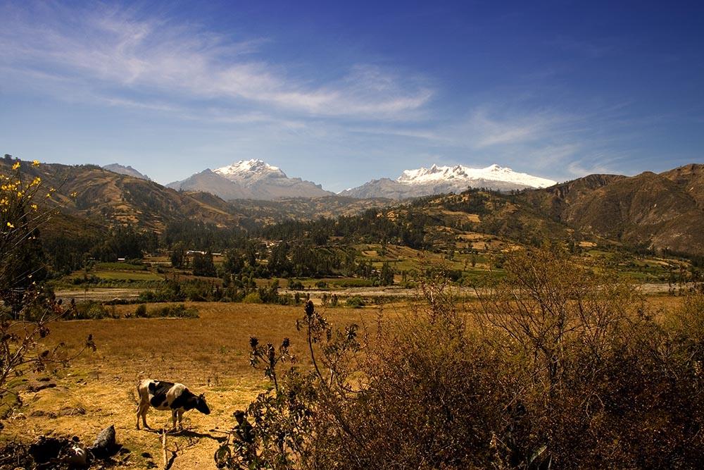Près de Huaraz, dans les montagnes. À l'arrière, la cordillera Blanca, dans la région d'Ancash.