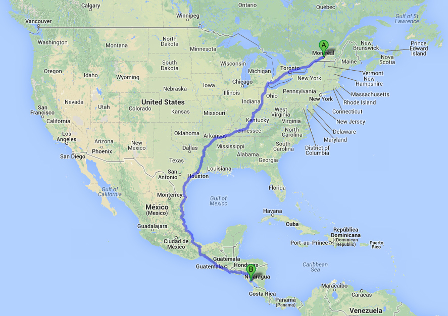 Chemin vers le Nicaragua