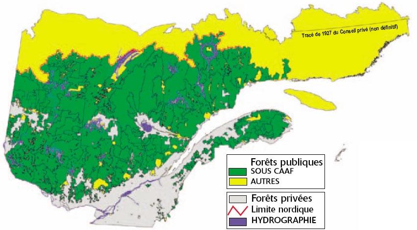 Carte des tenures privées et publiques (Source de l'image : Commission Coulombe)